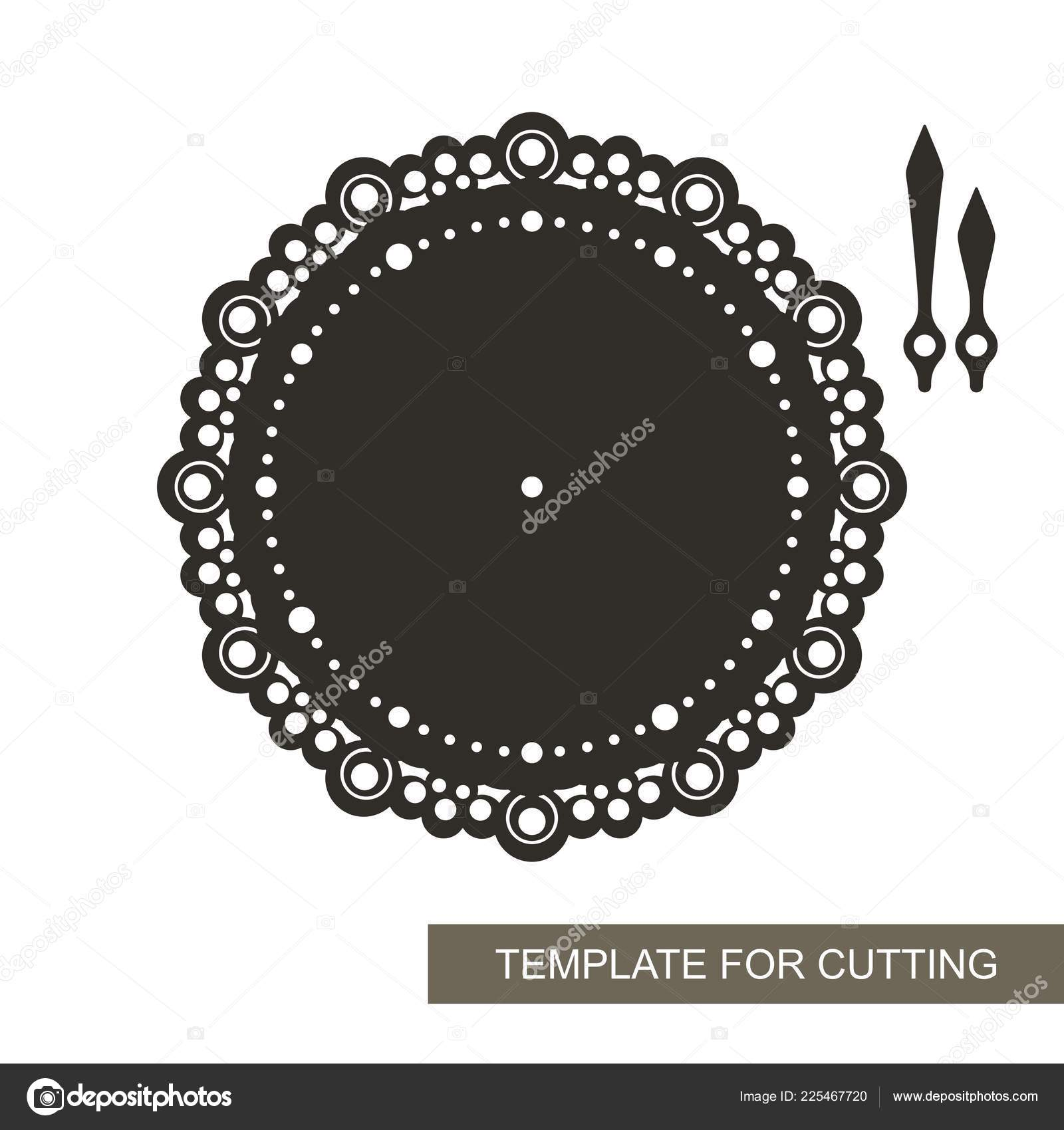 Openwork Dial Arrows White Background Template Laser Cutting Wood Carving Stock Vector