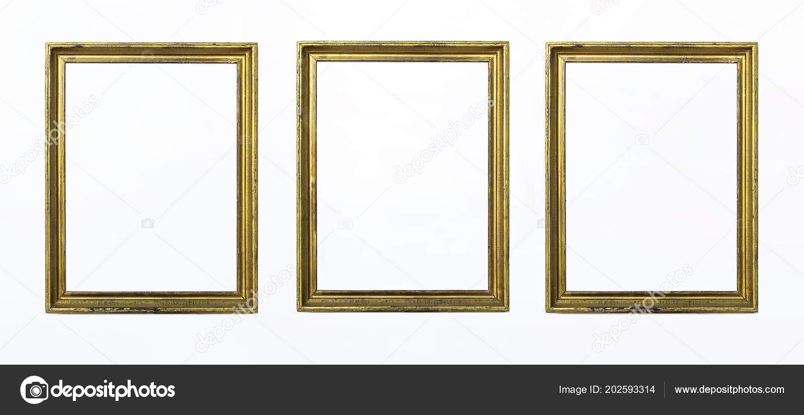 Three Gold Rectangular Frames Painting Picture White Background ...