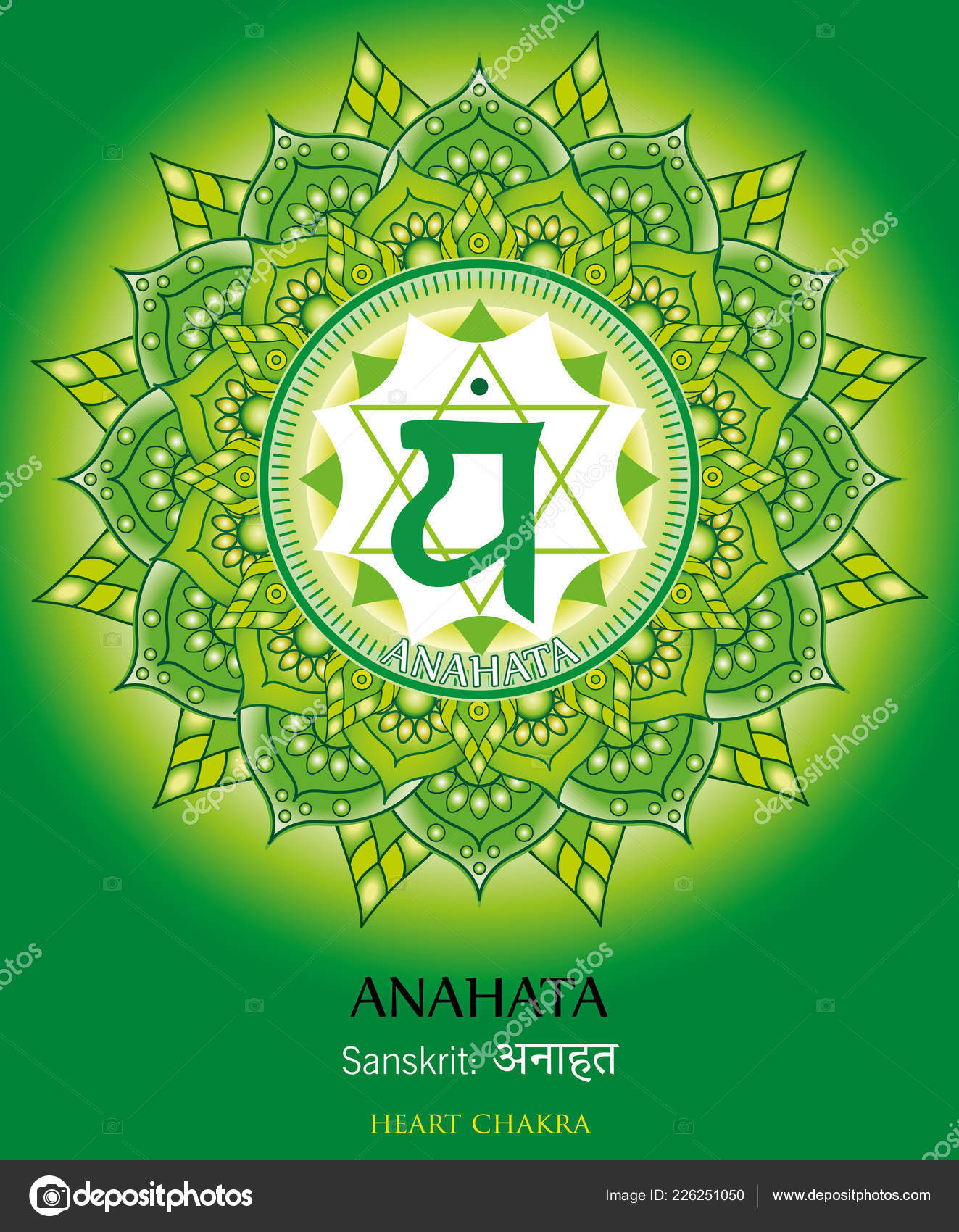 Vector Ilustración Cuarto Chakra Anahata — Vector de stock ...