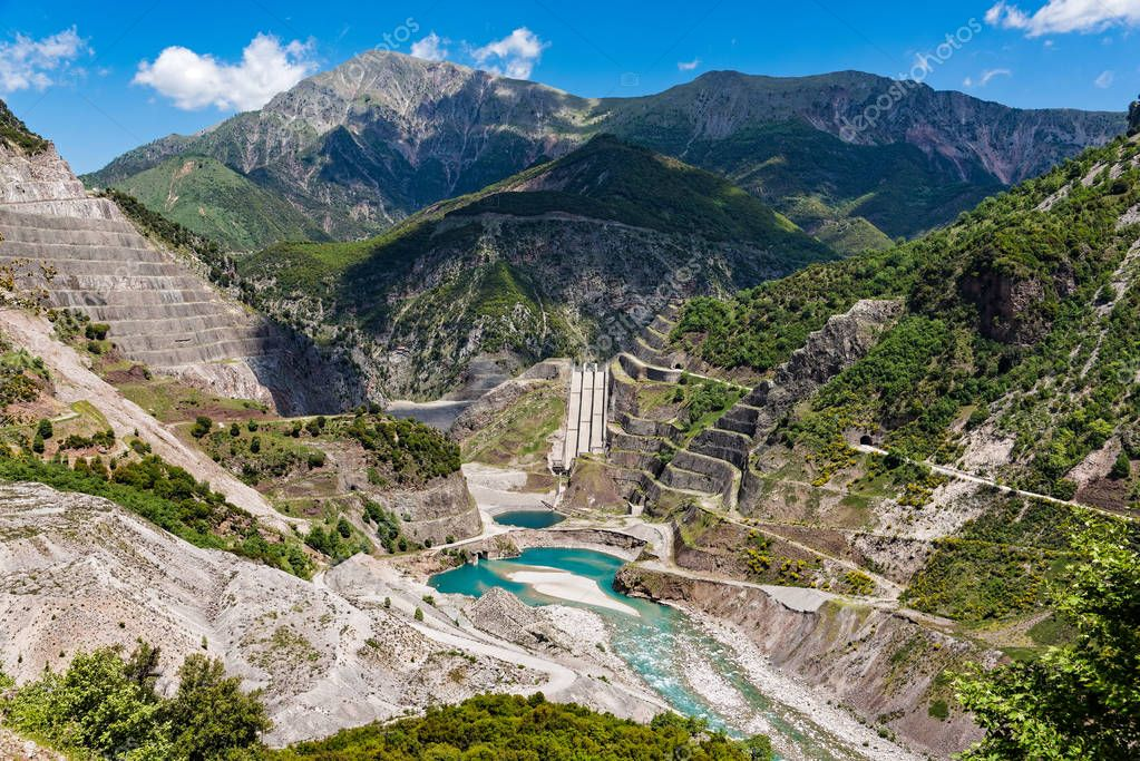 Mountain landscape with works in progress at the river bed of Acheloos in Thessaly, Greece