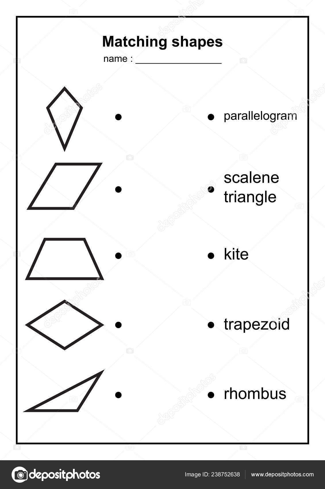 picture about Printable Geometry Shapes named Geometry Form Matching Recreation Informative Geometric Styles
