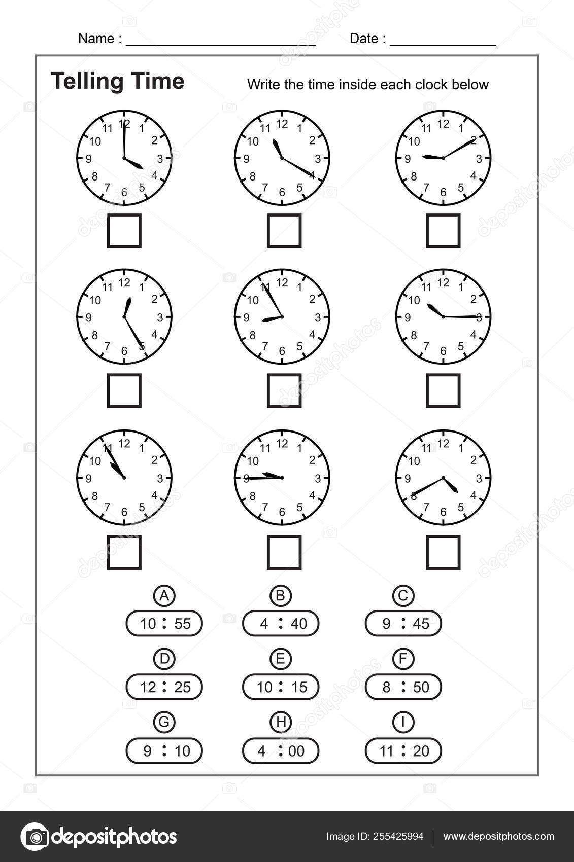 Telling Time Telling Time Practice Children Time Worksheets