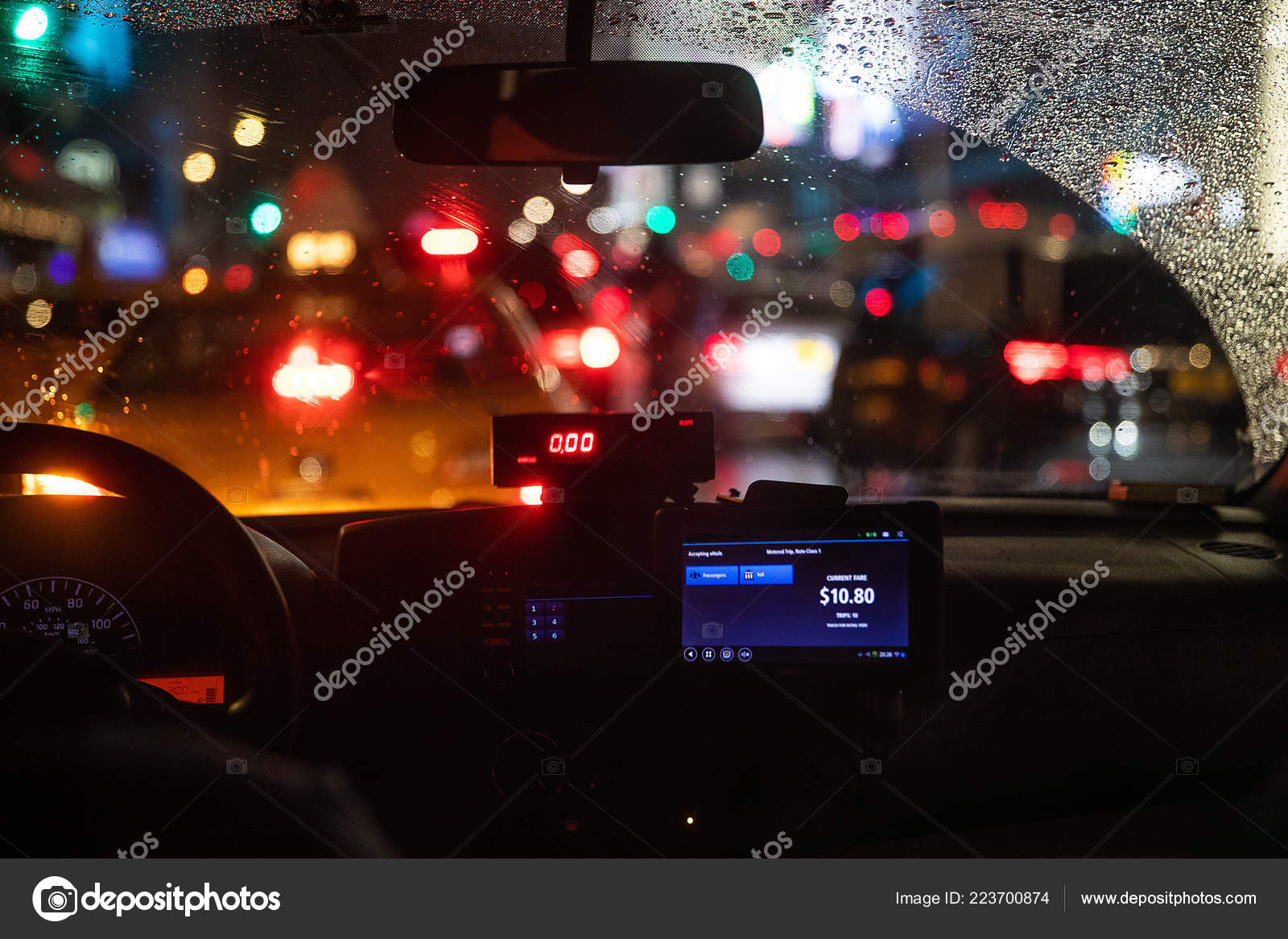 Interior View Taxi Cab Stuck New York Traffic — Stock Photo