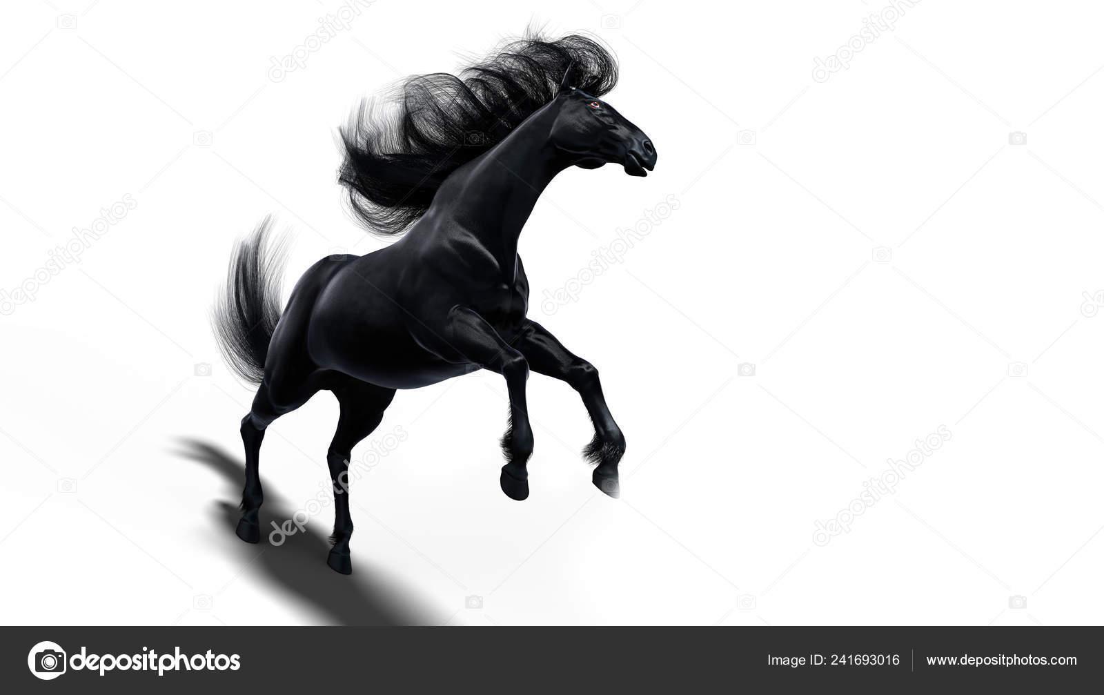 Black Running Horse White Background Isolated Illustration Stock Photo C Vitaliy Sokol 241693016