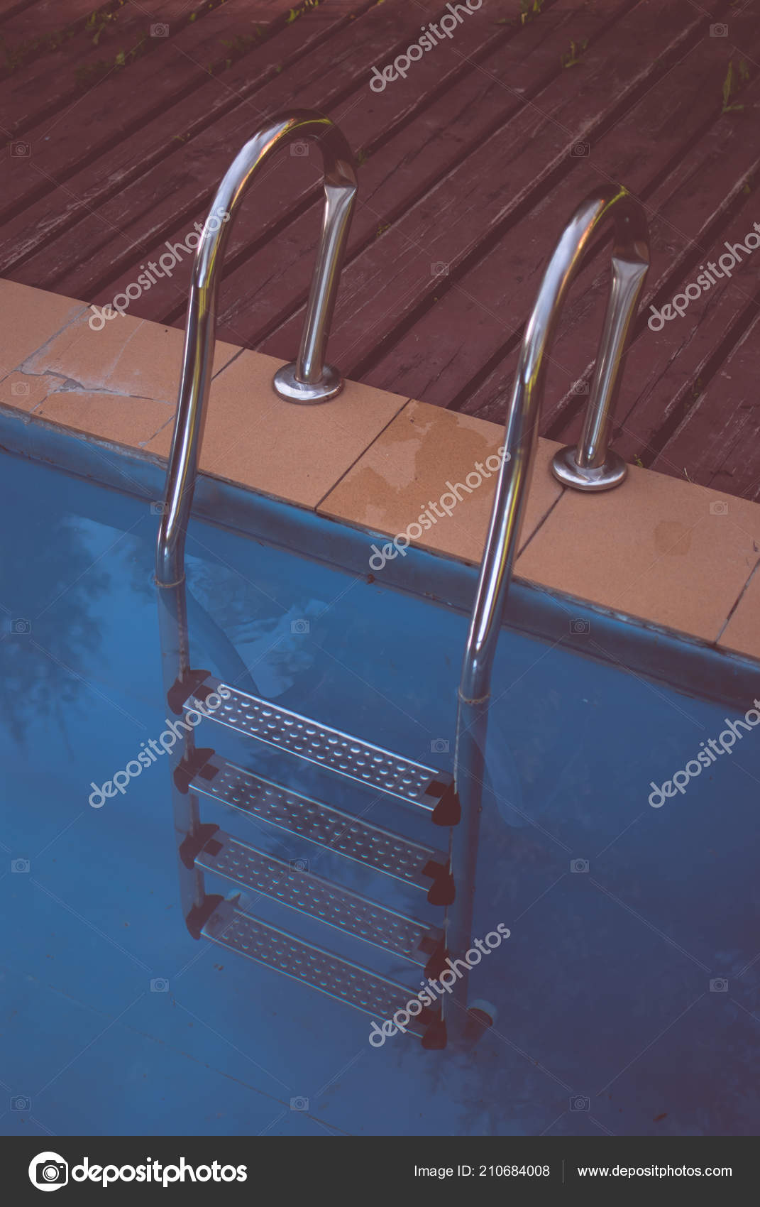 Swimming Pool Ladder Dark Blue Dirty Water Old Abandoned Pool