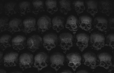 Collection of skulls covered with spider web and dust in the catacombs. Numerous creepy skulls in the dark highlighted by candle light. Abstract concept symbolizing death, terror, and evil. Black and white