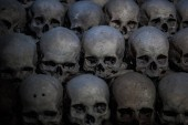 Photo Collection of skulls covered with spider web and dust in the catacombs. Numerous creepy skulls in the dark.