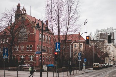Katowice, Poland - February 18, 2018: Cityscape on cloudy afternoon.