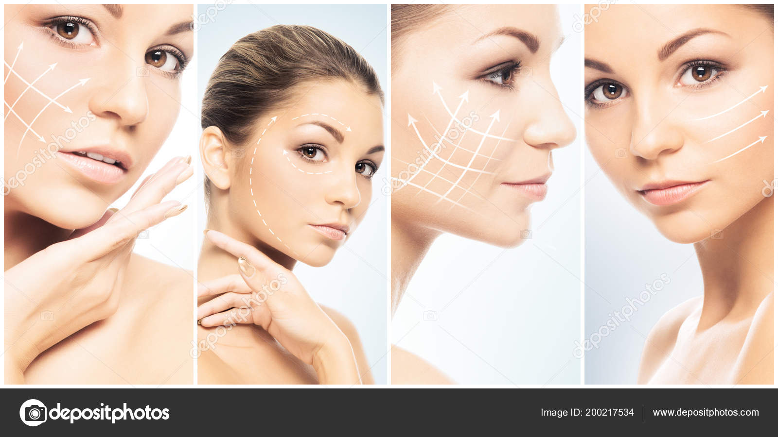 Beautiful Face Young Healthy Girl Collage Plastic Surgery Skin Care Stock Photo C Shmeljov 200217534
