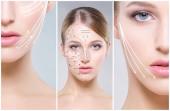 Lidskou tvář koláž. Mladá a zdravá žena v plastické chirurgie, lékařství, spa a obličeje zvedání koncept kolekce