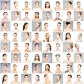 Koláž z ženských portrétů krásných, zdravých a mladých lázní. Tváře různých žen. Zvedání, kosmetika, plastická chirurgie a make-up koncept kolekce
