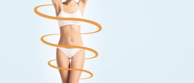 Close-up of a perfect female body with arrow around it. Healthcare, skincare, tan, sun burn concept.