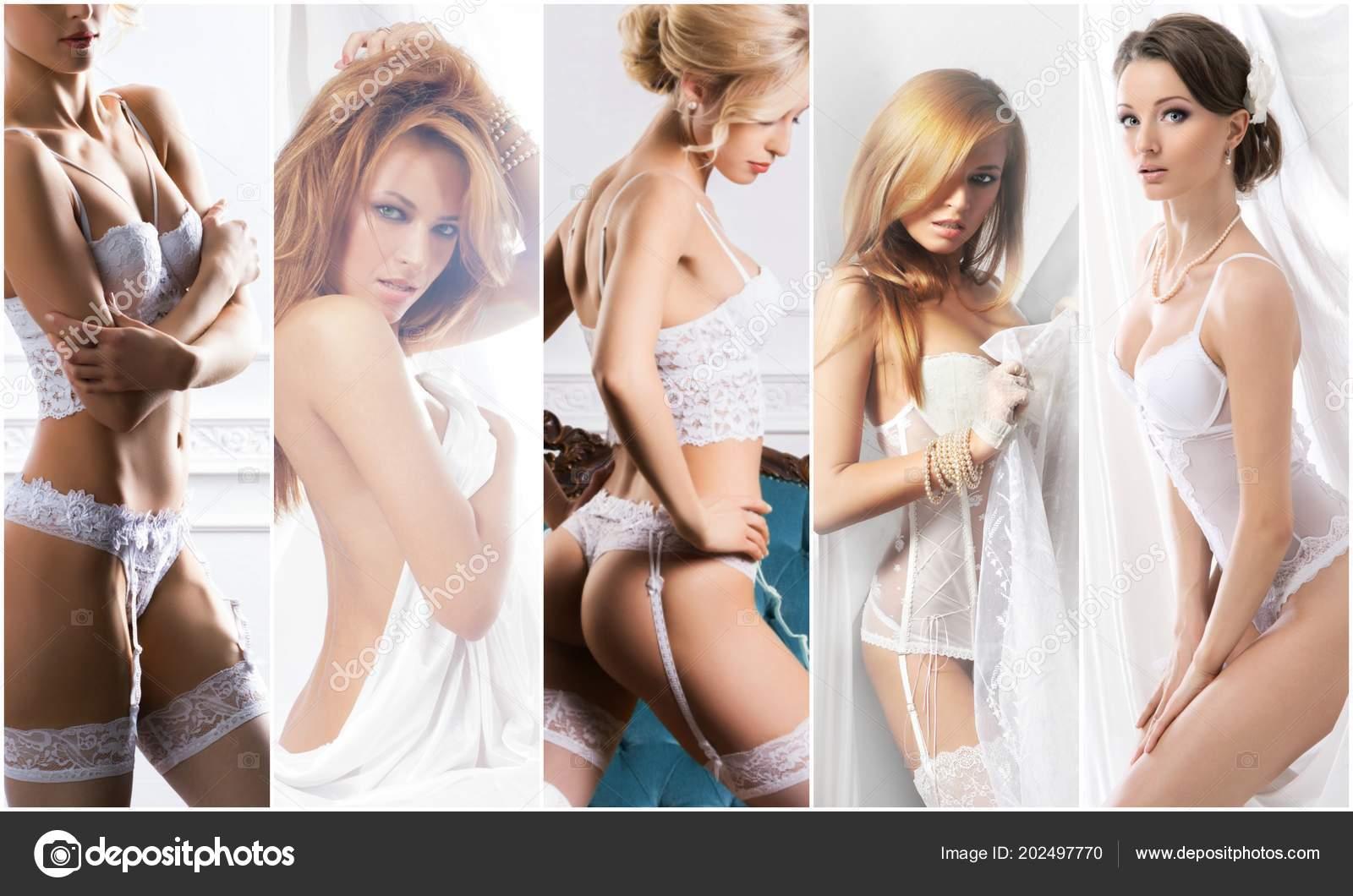 bb6f0b77c Coleção de lingerie branca. Noivas sensuais de lingerie erótica. Colagem de  cueca — Fotografia