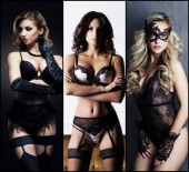 Photo Beautiful, sexy and young girls in lingerie. Fashion models in erotic underwear. Glamour, vogue, fashion concept collage.