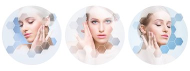 Collage of female portraits. Healthy faces of young women. Spa, face lifting, plastic surgery collage concept. Honeycomb mosaic.