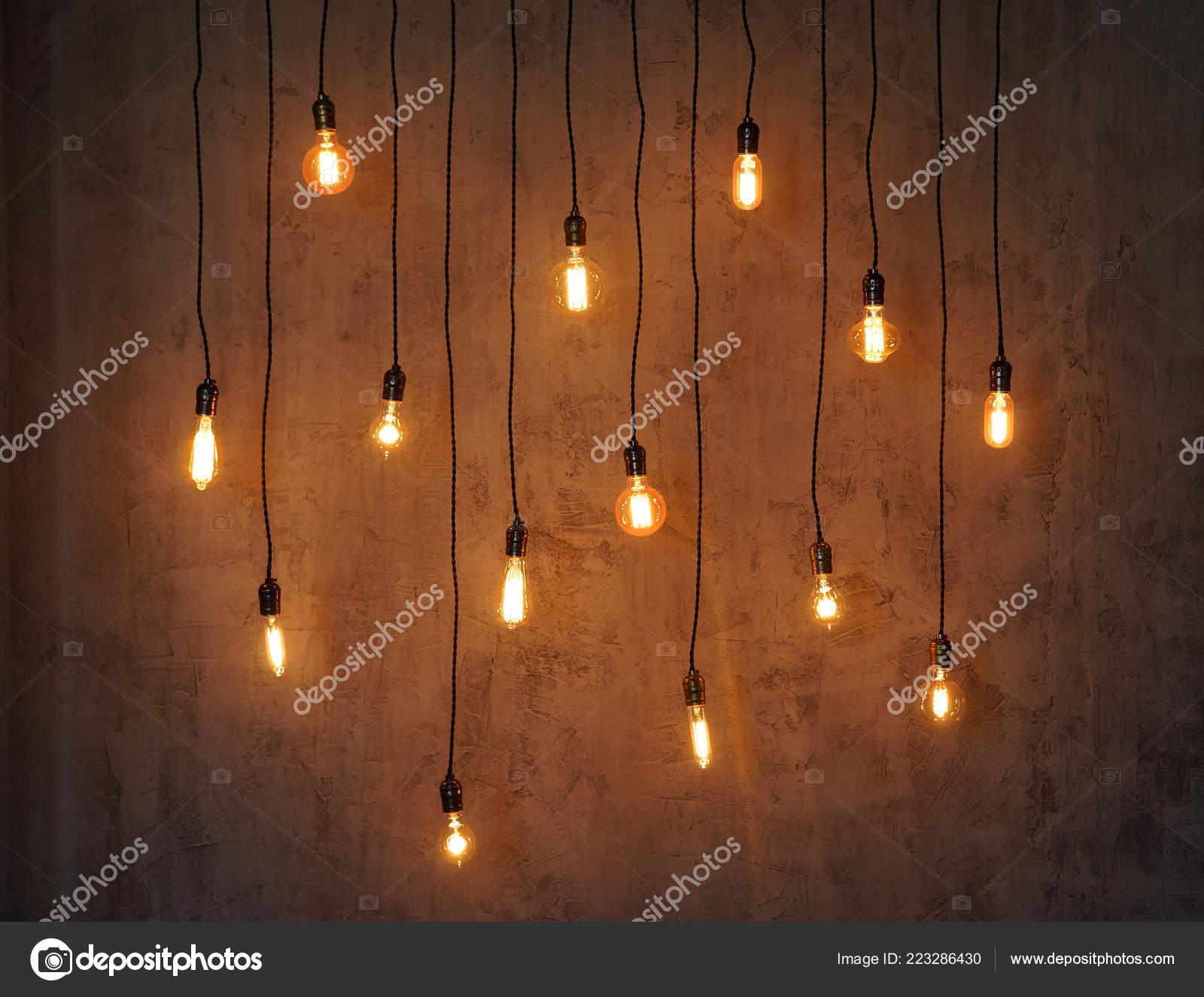 Fondo Bombilla Edison Lámparas Vintage Sobre Fondo Concreto
