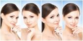 Collezione di ritratti femminili belli, sani e giovani. Collage di volti di donne diverse. Lifting del viso, cura della pelle, chirurgia plastica e concetto di make-up