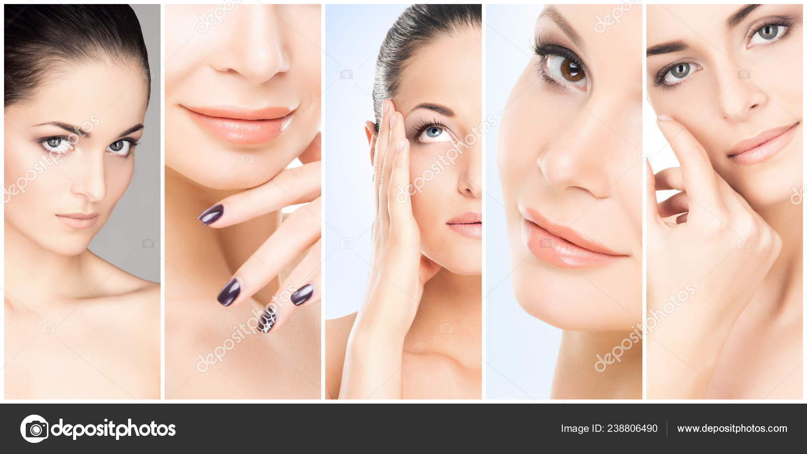 Beautiful Face Of Young And Healthy Girl In Collage Collection Plastic Surgery Skin Care Cosmetics And Face Lifting Concept Stock Photo C Shmeljov 238806490