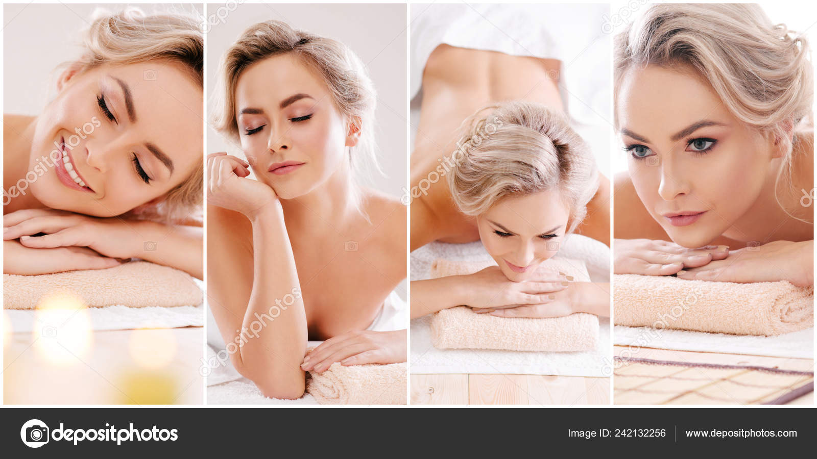 Set Young Beautiful Girls Relaxing Spa Woman Massaging Salon Traditional Stock Photo Image By C Shmeljov 242132256