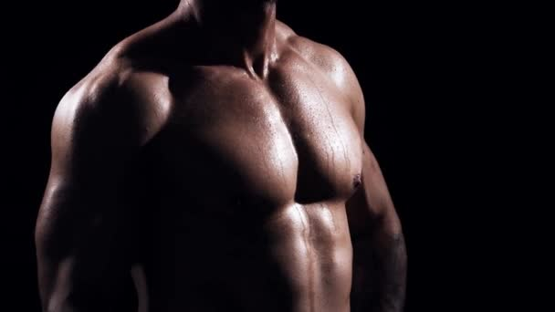 Fit und sportlicher Bodybuilder vor schwarzem Hintergrund. Bodybuildertraining mit Kurzhanteln. Sport- und Fitnesskonzepte.