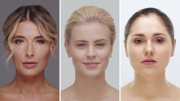 Koláž ze čtyř různých ženských tváří. Portréty krásných žen. Péče o pleť, make-up a kosmetické koncepty.