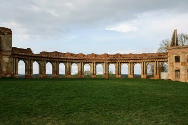 Ruzhany Palace, ruined building of Sapieha in village, Pruzhany district, Brest province, Western Belarus colonnade wing view