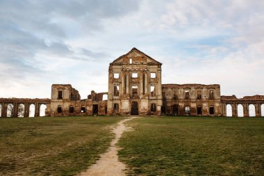 Ruzhany Palace, ruined building of Sapieha in village, Pruzhany district, Brest province, Western Belarus, front view