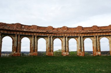 Ruzhany Palace, ruined building of Sapieha in village, Pruzhany district, Brest province, Western Belarus, colonnade wing view
