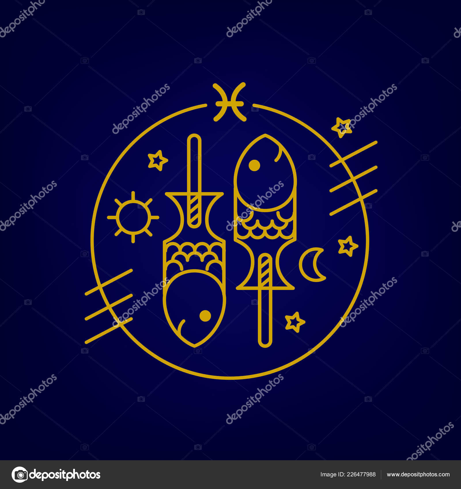 Vector Fish Zodiac Sign Logo Illustration Food Horoscope Kids