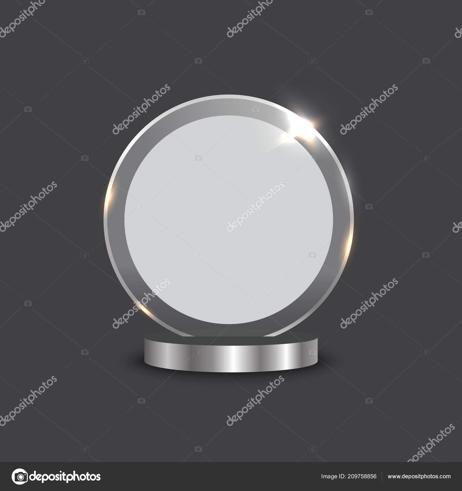 trophy award shiny glass vector illustraion blank template stock