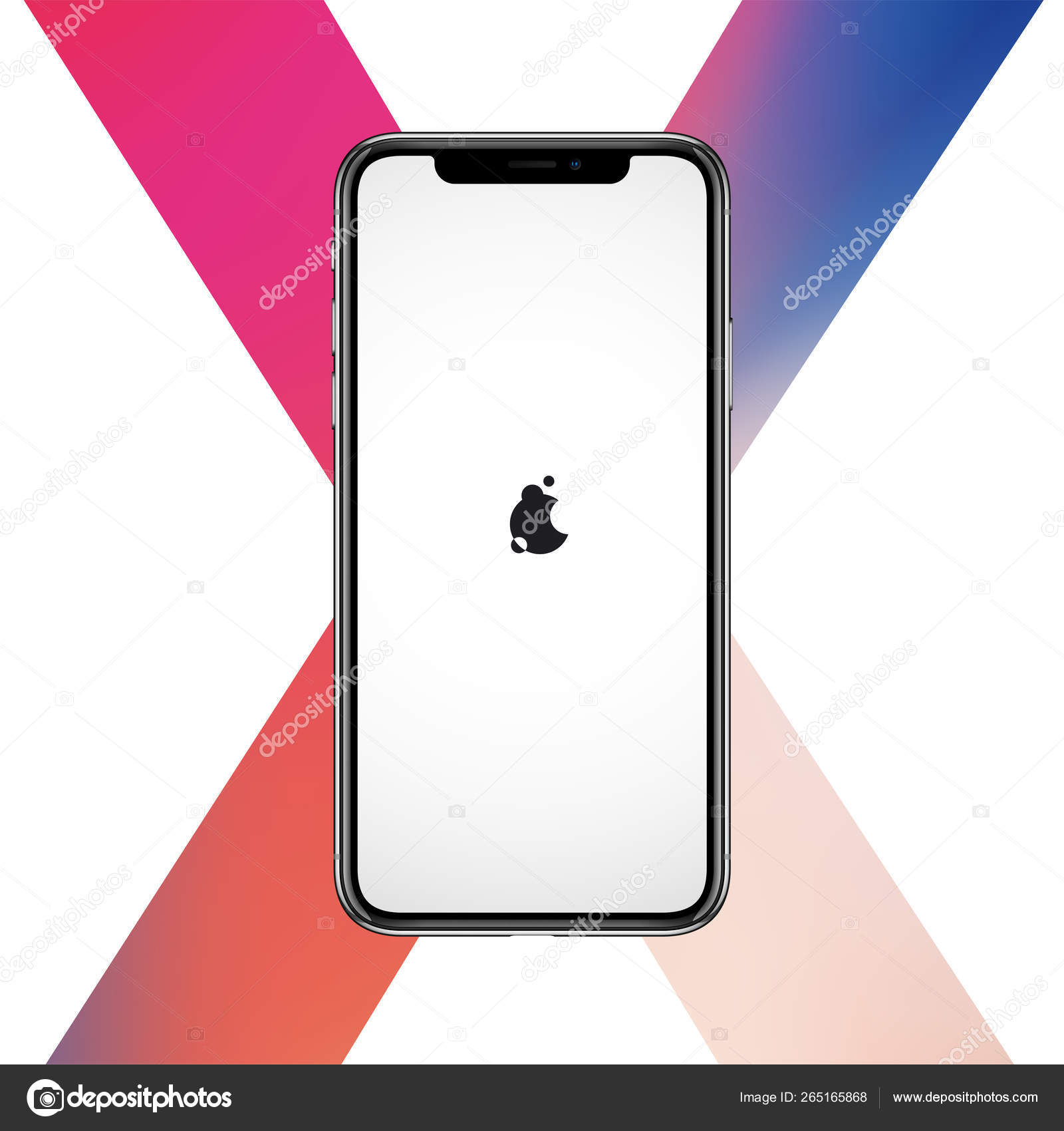 Vector smartphone similar to iphon X mockup for printing