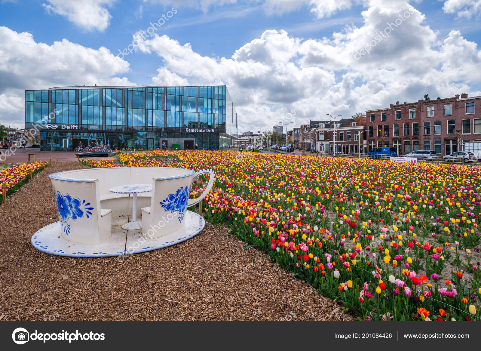 Delft Netherlands April 2018 Tulip Garden Front New Townhall Railway ...