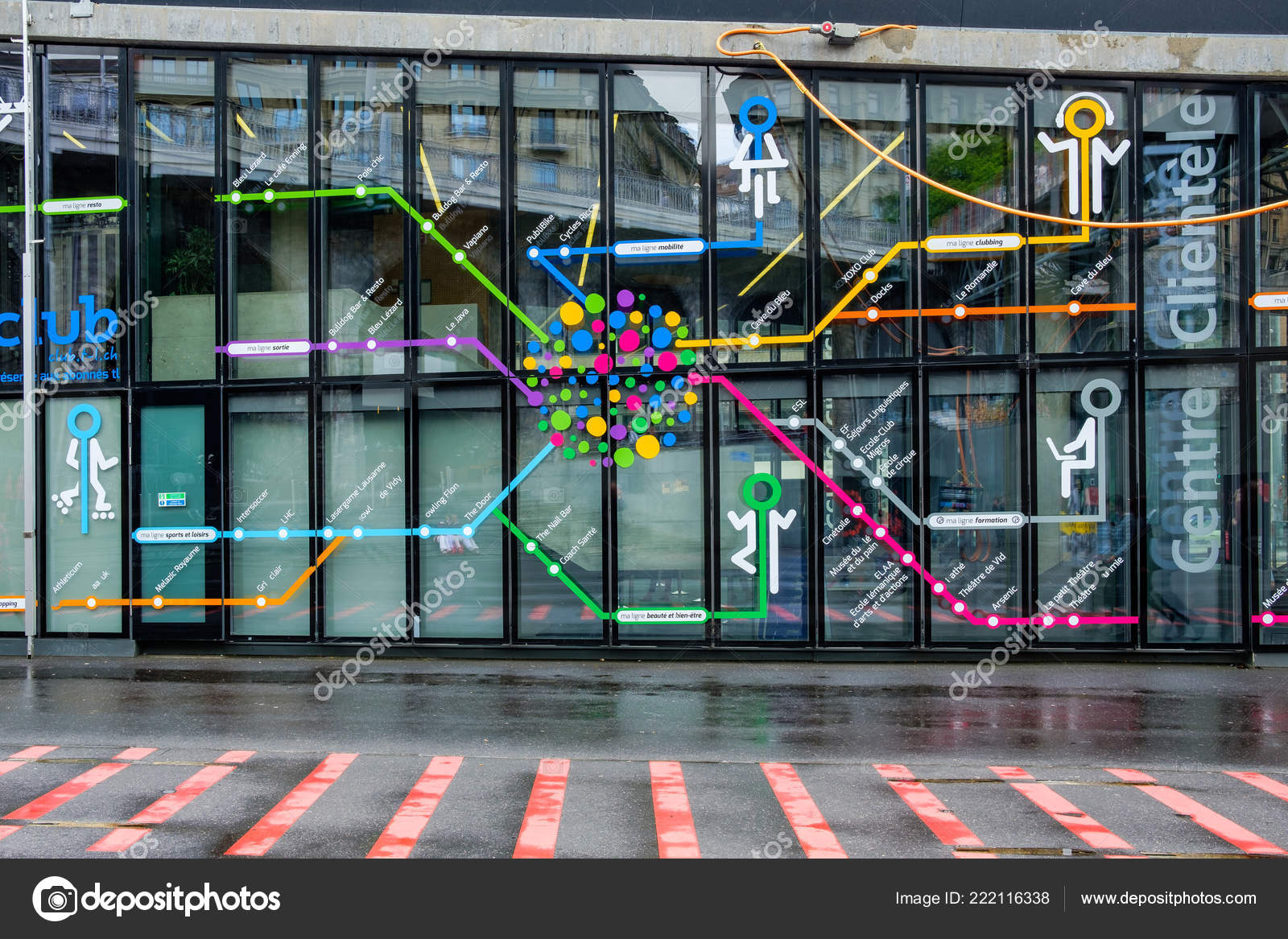 Colorful Artistic Map Subway Lines Lausanne Drawn Window Entrance ...