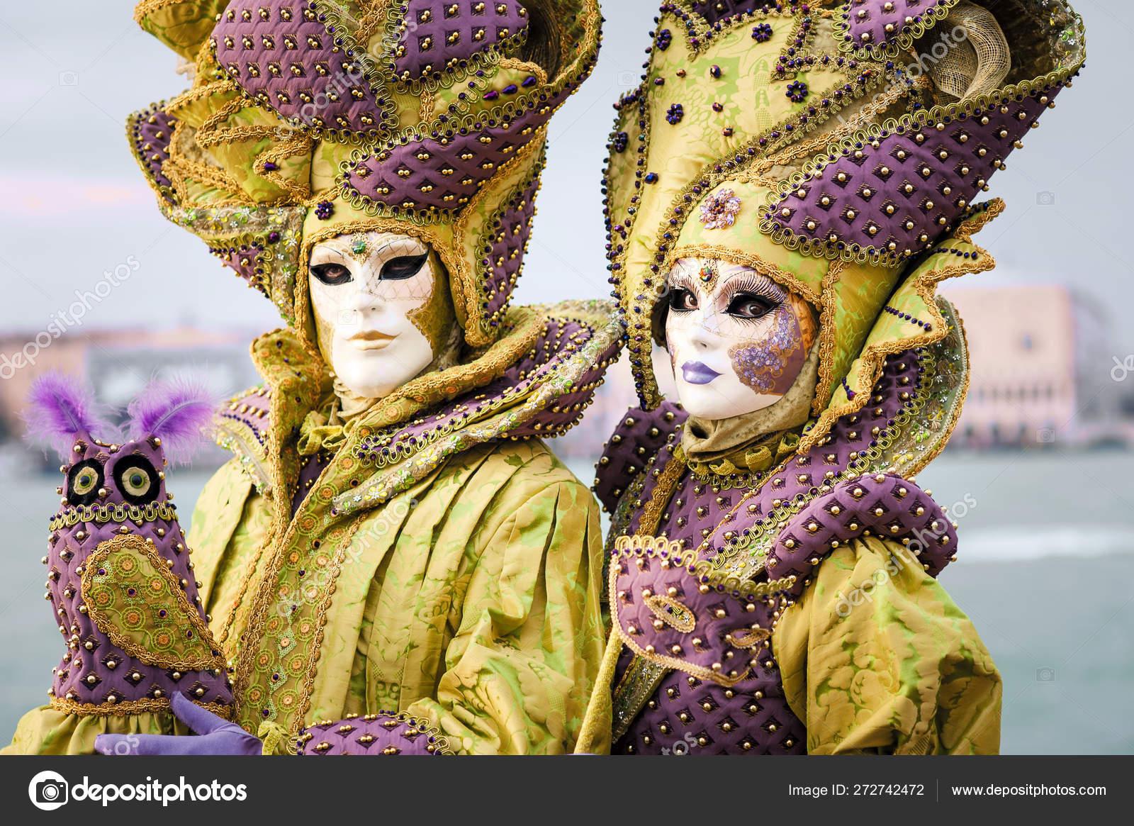 People Masks Costumes Harbor Carnival Venice Italy \u2013 Stock