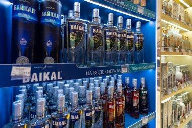 MOSCOW - MARCH, 2019: Vodka Baikal bottles inside Duty Free shop at Sheremetyevo International Airport.