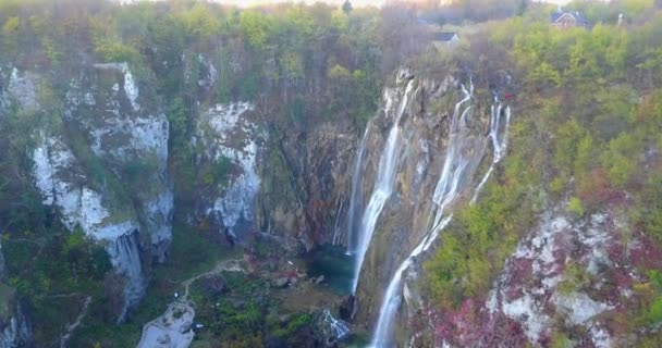 Panoramic aerial view of turquoise water and waterfall in Plitvice Lakes National Park, Croatia, Europe