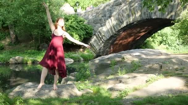 junge schöne Ballerina tanzt im Central Park in New York mit Skyline-Hintergrund