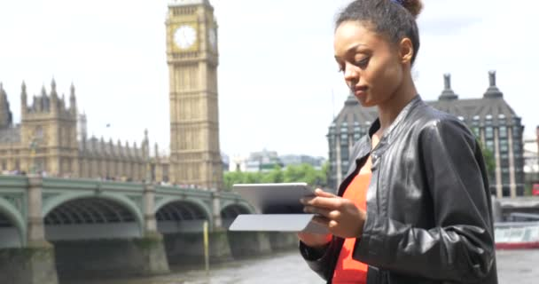 young attractive african american woman having fun on London street