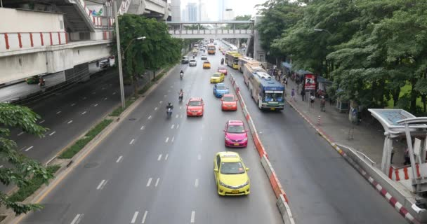 elevated view of traffic on road in urban scene