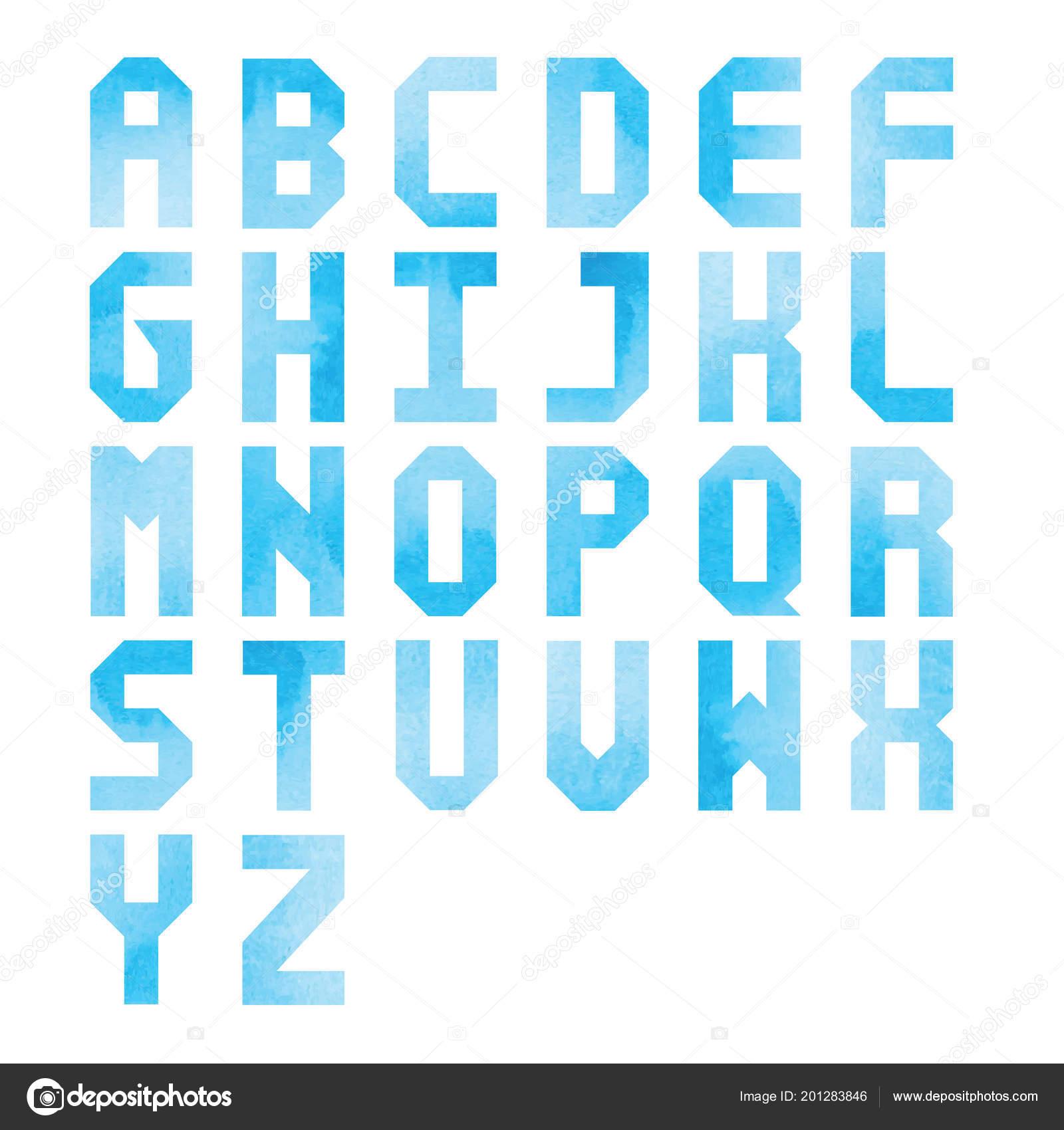 Blue Watercolor Alphabet White Background Design — Stock Vector