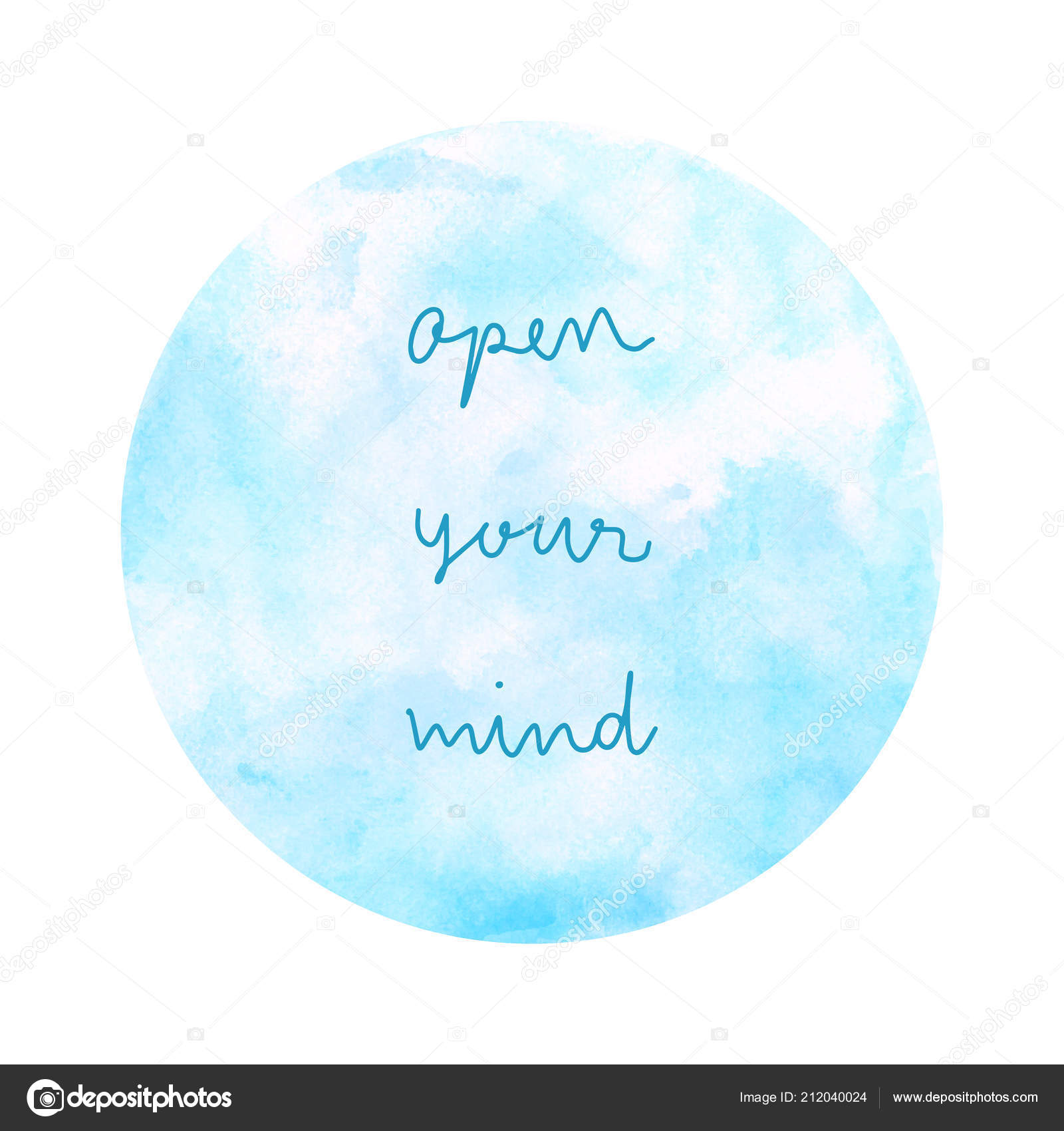 Open Your Mind Inspirational Quote Blue Watercolor White Background