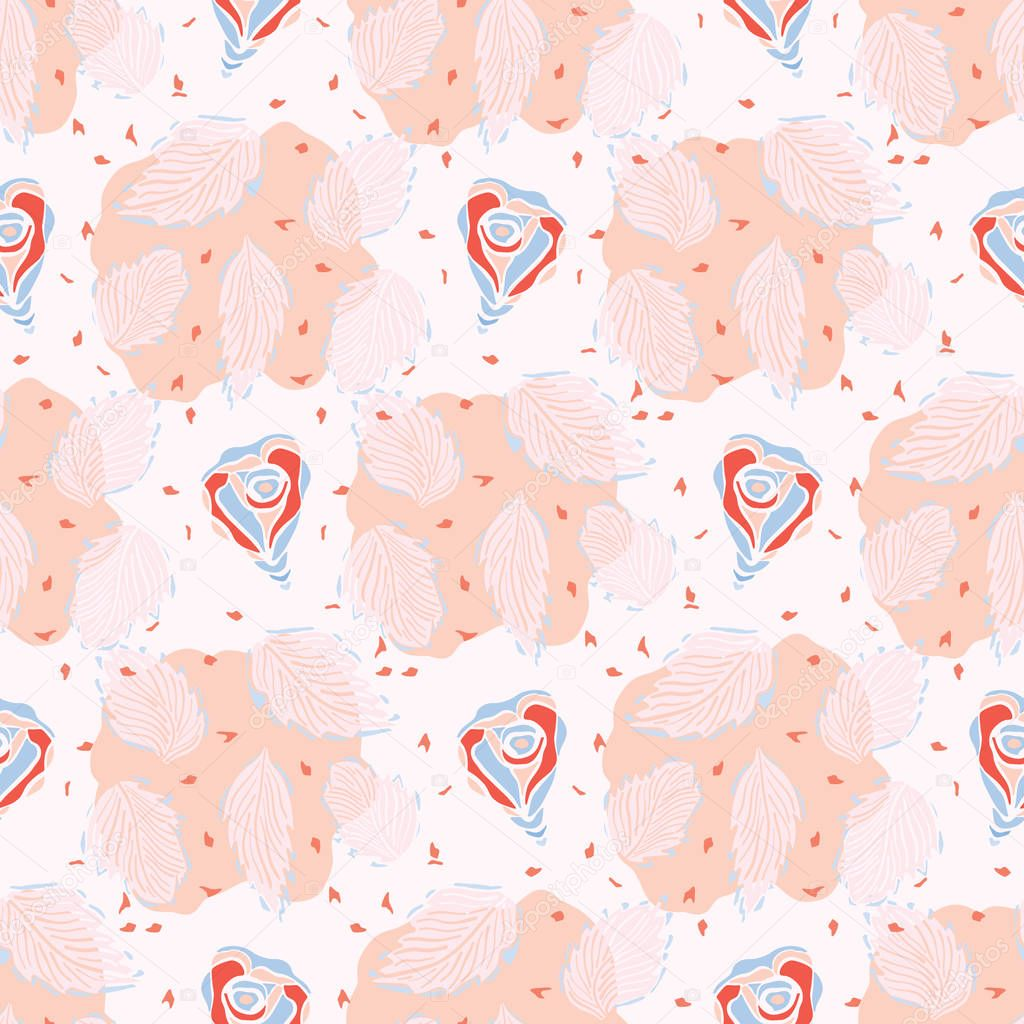Pink Floral Leaves Seamless Vector Pattern. Romantic Flower Illustration for Summer Fashion Prints, Kawaii Gift Wrap, Trendy Style Packaging, Valentines Day Paper Goods or Retro Wedding Stationery