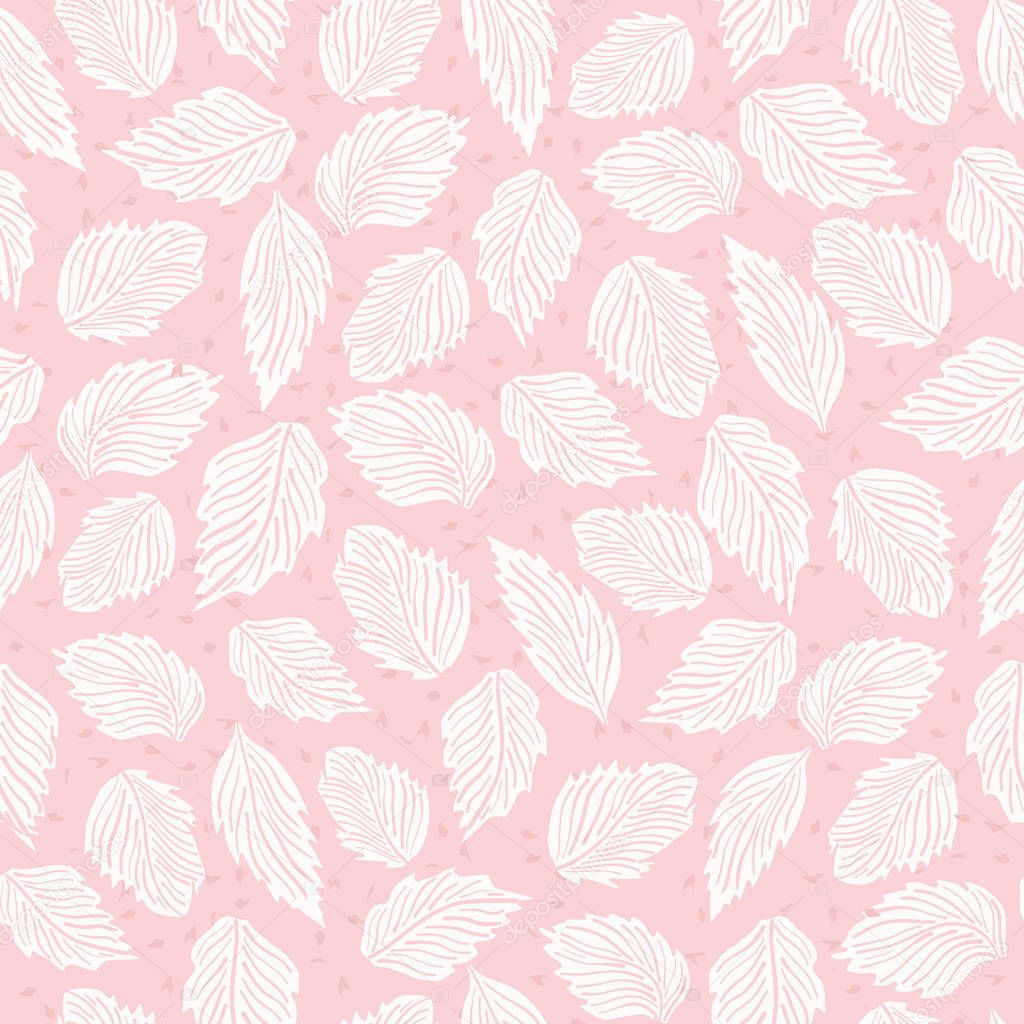 Pastel Pink Falling Leaves Flower Seamless Vector Pattern. Hand Drawn Vintage Style Leaf Texture Illustration for Summer Fashion Prints, Trendy Wallpaper, Feminine Packaging Wrap or Paper Goods.