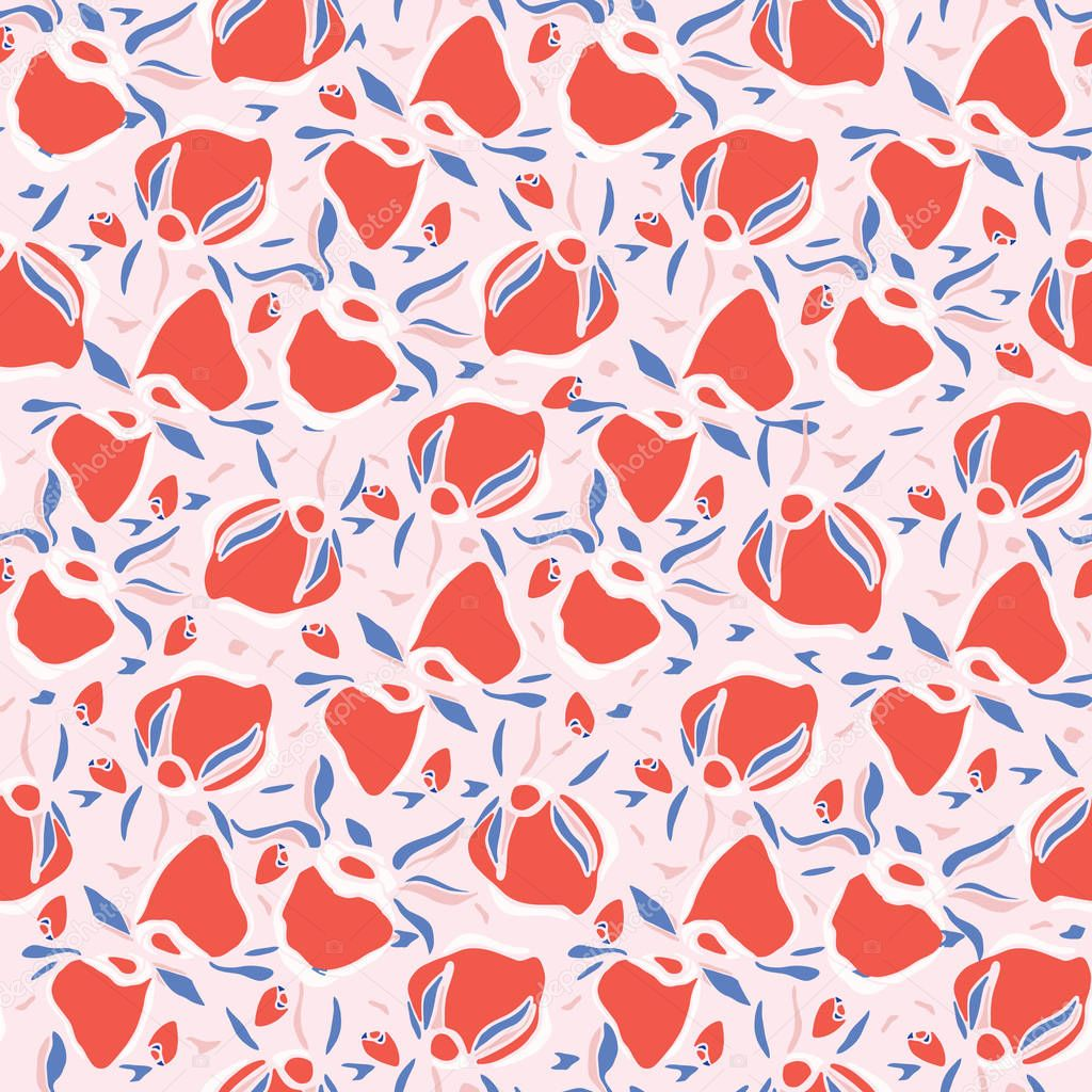 Rose Hip Floral Leaves Seamless Vector Pattern. Romantic Flower Illustration for Summer Fashion Prints, Kawaii Gift Wrap, Trendy Style Packaging, Valentines Day Paper Goods or Retro Wedding Stationery