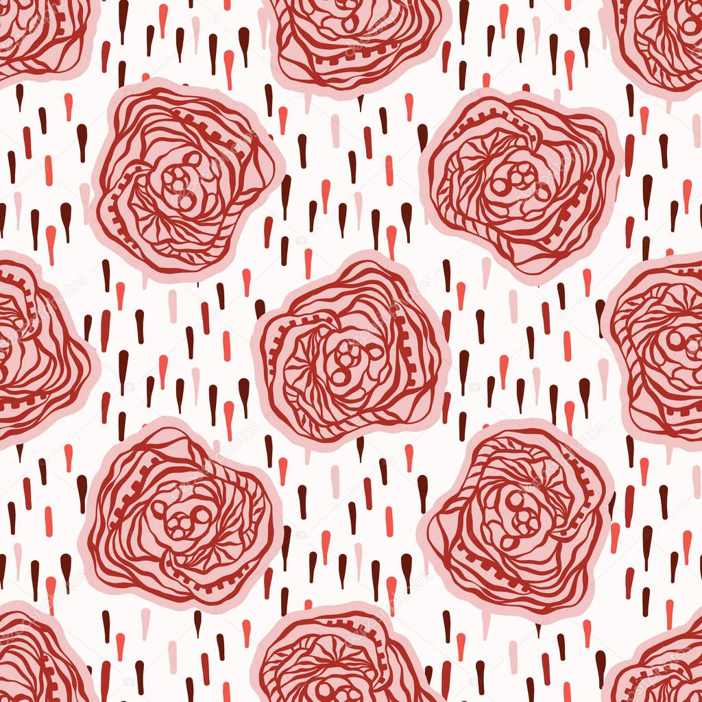 Bold Graphic Line Art Flowers Seamless Vector Pattern, Hand Painted 1970s Style Blooms Illustration for Summer Fashion Prints, Trendy Packaging, Floral Gift Wrap, Boho Apparel or Wedding Invitations