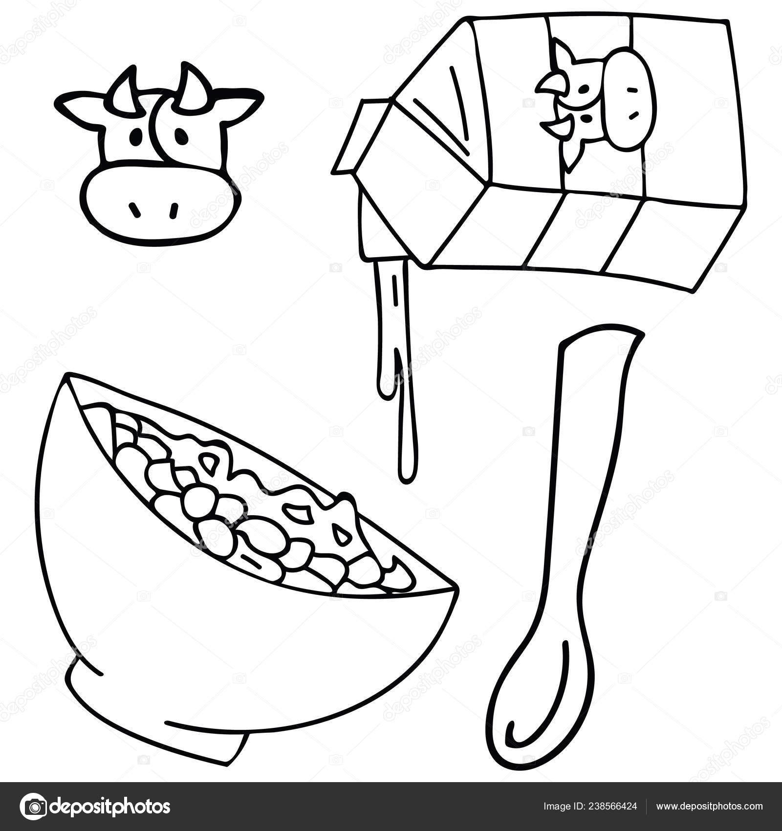 Susse Fruhstuck Getreide Schwarz Weiss Vektor Illustration Von