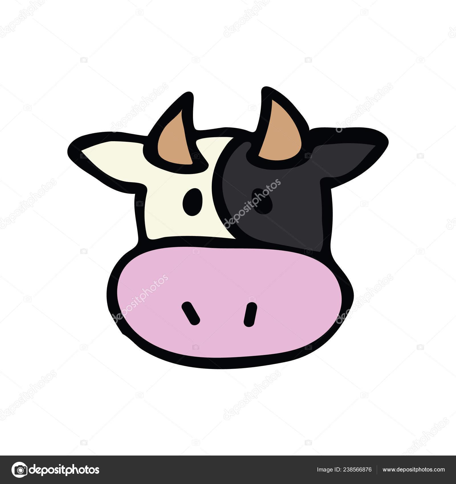 Clipart Cow Head Cute Cow Head Icon Vector Illustration