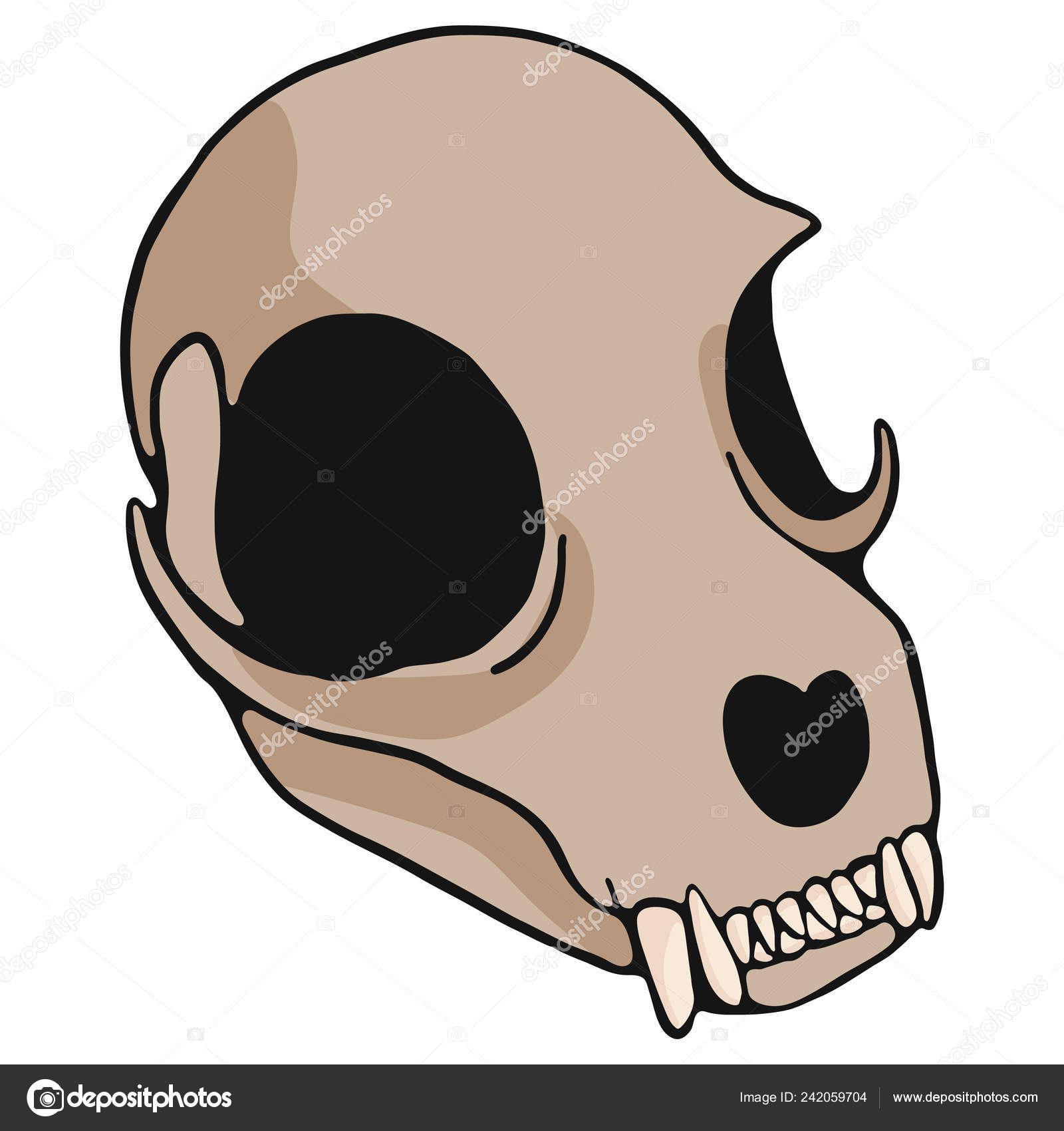 Cat Skull Cartoon Vector Illustration Motif Set Hand Drawn Isolated