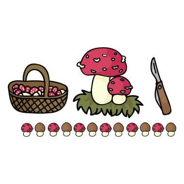 Cute mushroom foraging with basket cartoon vector illustration motif set.