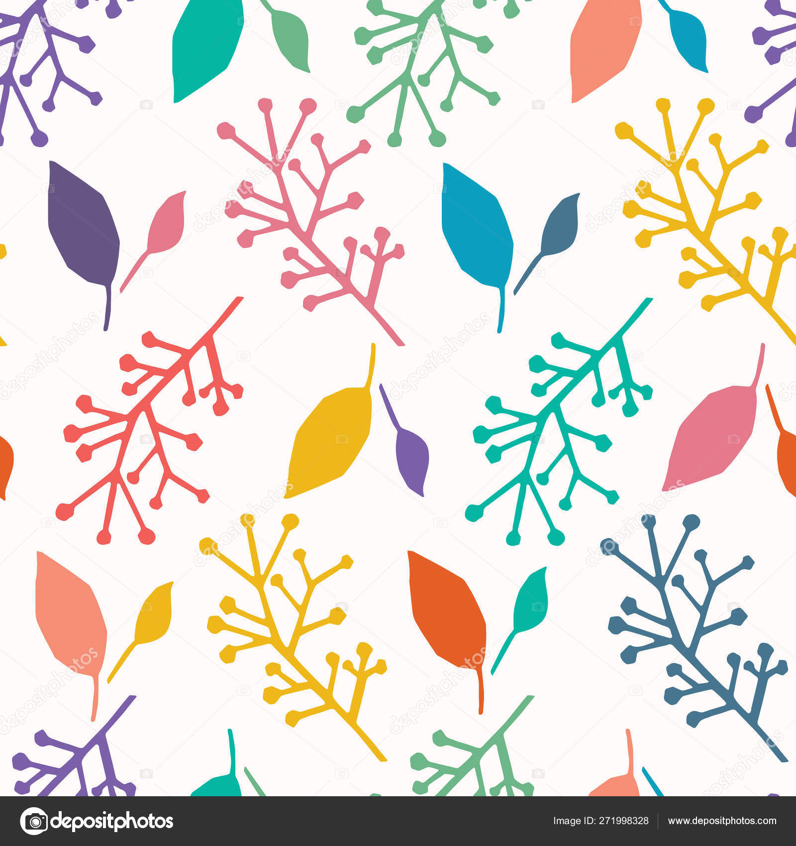Abstract Nature Leaves Cut Out Shapes Vector Pattern